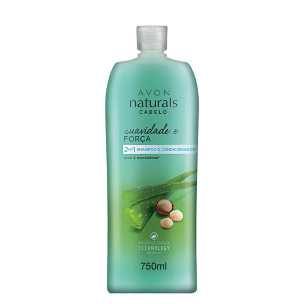 Shampoo e Condicionador 2 em 1 Naturals Cabelo Suavidade e Força 750 ml